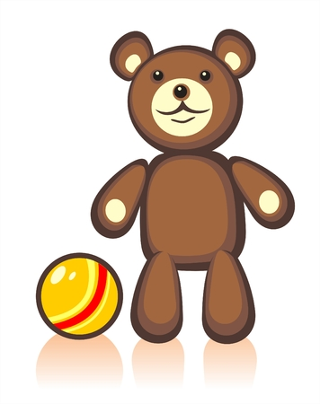 Toy bear and ball on a white background. Digital illustration.
