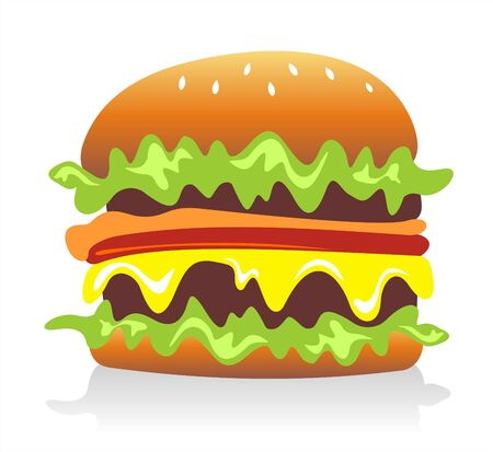 Cheeseburger  hamburger on white background. Digital illustration.