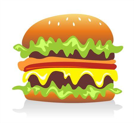 mayonnaise: Cheeseburger  hamburger on white background. Digital illustration.