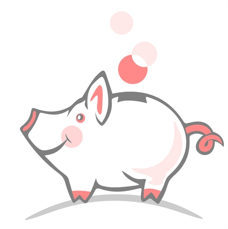 Stylized piggy bank and coin on a white background.