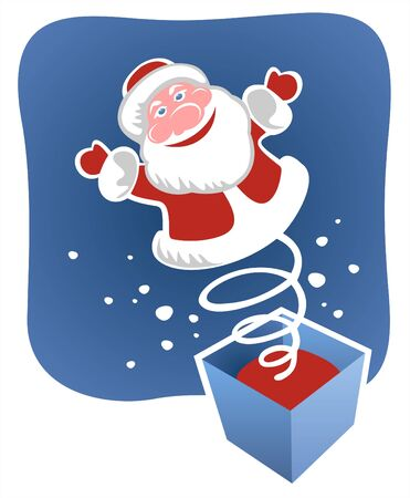 fondly: A toy santa jumps out on a spring from a box. Christmas illustration.