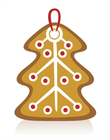 Gingerbread fur-tree and his shadow on a white background. Vector