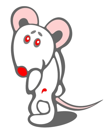 timid: Stylized timid mouse on a white background. Digital illustration.