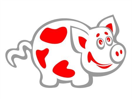 fondly: Cheerful spotty pig on a white background. Illustration