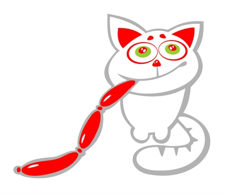 The white stylized cat with sausages in a teeth. Vector