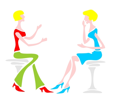 graceful: Two women sit on chairs and talk