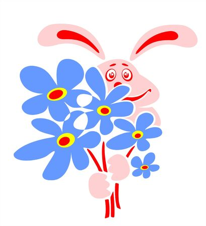 Pink enamored rabbit with a bouquet of dark blue flowers.