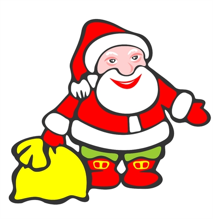 Cheerful stylized Santa Claus with a yellow bag on a white background.