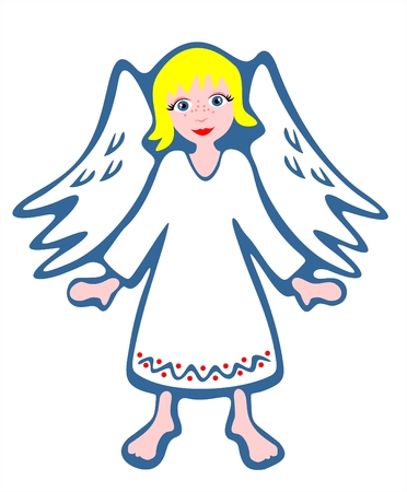 fondly: White stylized angel sit on a cloud. Christmas illustration.