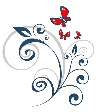 Dark floral pattern and the stylized butterflies on a white background.