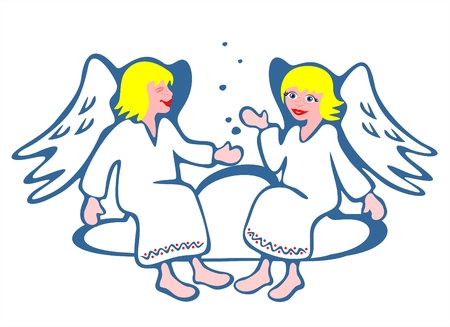 Two cheerful angels sit on a cloud. Christmas illustration.