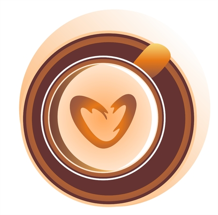 The stylized cup of coffee with milk and foam in the form of heart. Vector