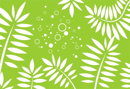 simplify: White stylized leaves on a green background with circles.