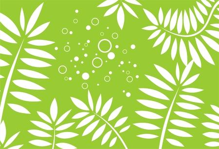 vereenvoudigen: Witte gestileerde bladeren op een groene achtergrond met cirkels. Stock Illustratie