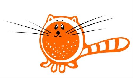 The orange stylized cat on a white background.