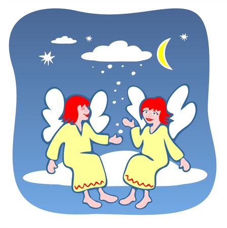 fondly: Two cheerful angels sit on a cloud.