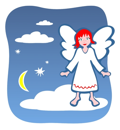 Figure of an angel on a background of the star sky.
