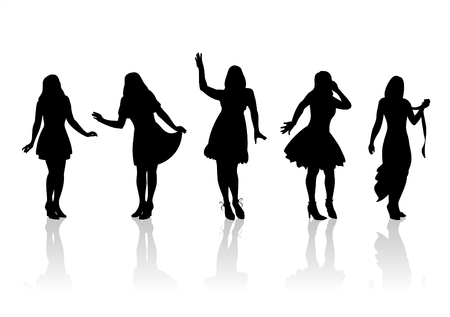 Four fashionable female silhouettes on a white background. Vector