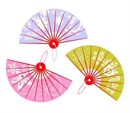 Three multi-colored fans with white patterns.