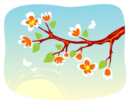 appletree: Blossoming branch of an apple-tree on a background of the sky and the sun with moths.