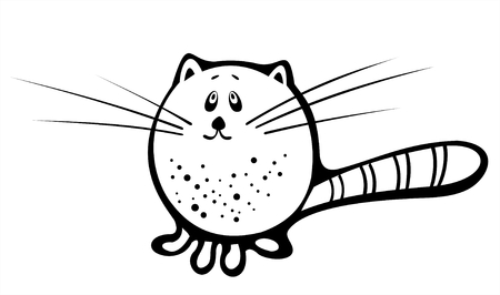 The black-and-white image of a cat in style of figure ink. Illustration