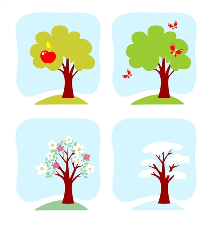 The image of an apple-tree at various times year. Illustration