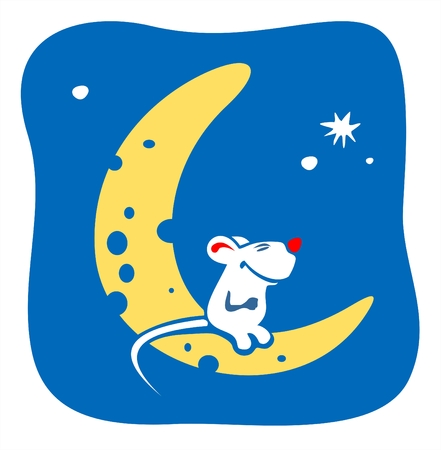 fondly: The little mouse sitting on the moon-cheese on a background of the star sky.