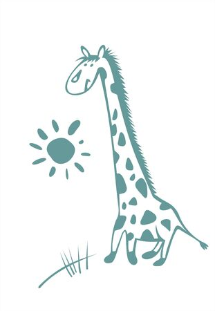 The stylized image a giraffe and the sun on a white background. Illustration