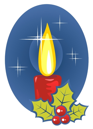 Stylized christmas candle and holly berries on a dark blue background. Vector