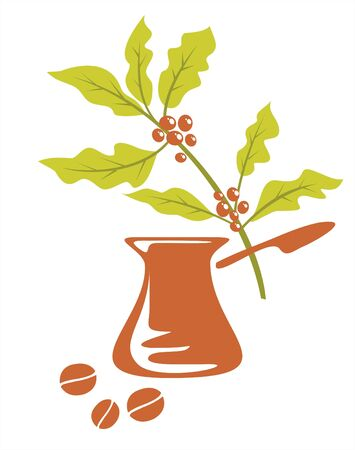 vivacity: Branch of a coffee tree, cezve and coffee grains on a white background.