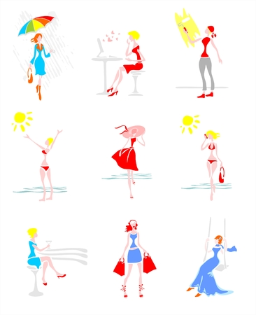 Nine stylized women in different vital situations. Digital illustration. Vector