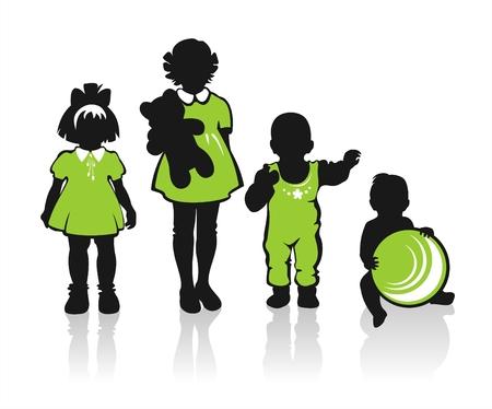 dessin au trait: Black enfants des silhouettes sur un fond blanc.  Illustration