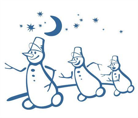 Three cheerful snowballs run on a background of the night star sky. Illustration