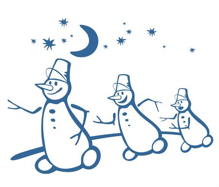 fondly: Three cheerful snowballs run on a background of the night star sky. Illustration