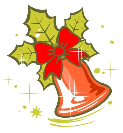 Ornate christmas bell on a white background. Digital illustration.