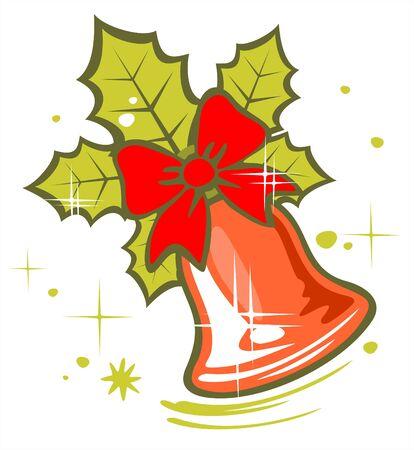 Ornate christmas bell on a white background. Digital illustration. Stock Vector - 2207045