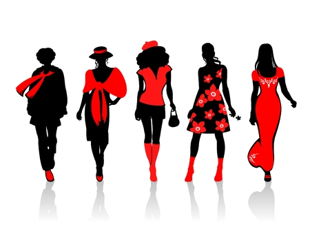 girl in red dress: Stylized  silhouettes on a white background. Digital illustration.