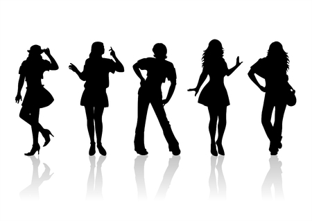 refinement: Four fashionable female silhouettes on a white background.