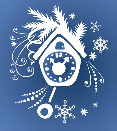 cuckoo clock: White ornate silhouette cuckoo clock, fur-tree branch and snowflakes  on a blue ornate background. Christmas illustration.