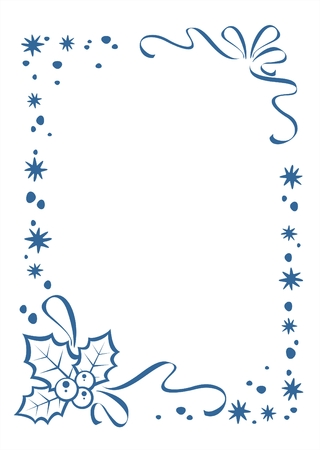 Blue snowflakes border on a blue ornate background. Christmas illustration. Stock Vector - 2250605