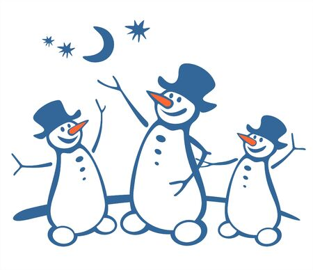 Three cheerful snowballs on a white background. Digital illustration. Vector