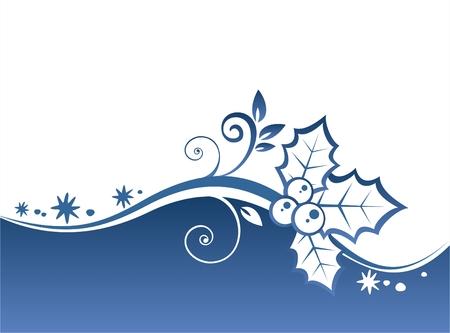 hulst: Blauwe krullen en holly berry patroon op een blauwe achtergrond sierlijke. Kerstmis illustratie. Stock Illustratie