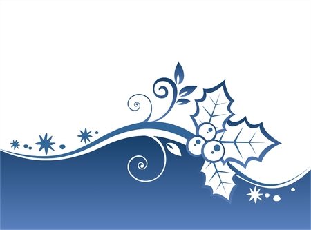 Blue curls and holly berry pattern on a blue ornate background. Christmas illustration.