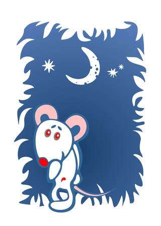 timid: Stylized timid mouse on a dark blue ornate background. Digital illustration.