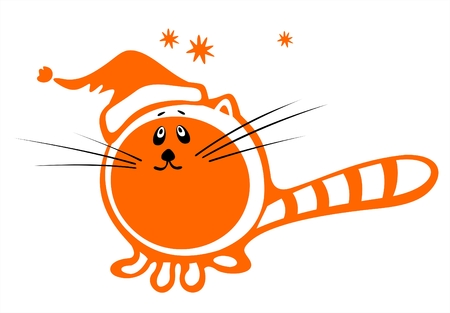 Stylized cat with christmas cap on a white background. Digital illustration.