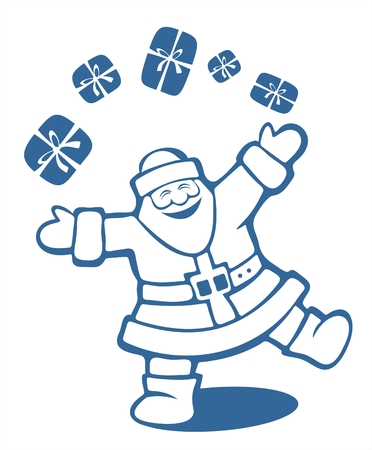 Happy Santa Claus juggles with gift boxes. Christmas illustration. Illustration