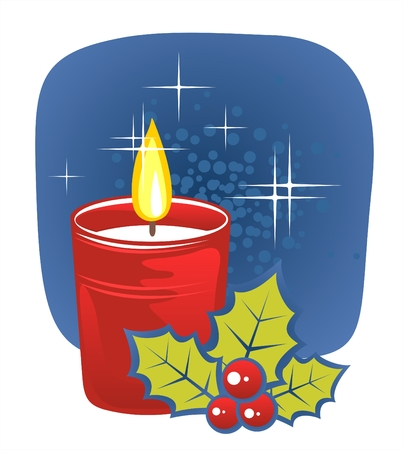 bush fire: Stylized christmas candle and holly berries on a dark blue background. Illustration