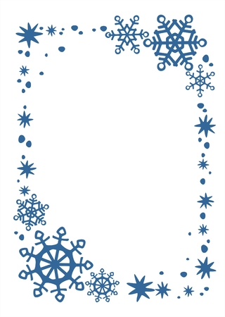 Blue snowflakes and stars border on a white background. Christmas illustration.
