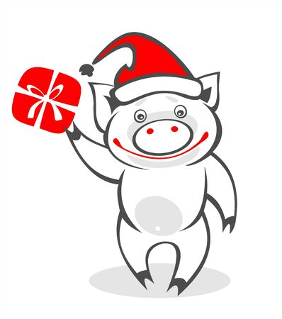 Stylized Christmas pig and gift box on  a white background. Digital illustration. Vector