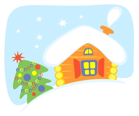 christmastree: Stylized house and christmas-tree on a blue background. Illustration
